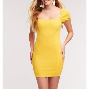 2/$30 Yellow Fitted Puff Sleeve Square Neck Dress